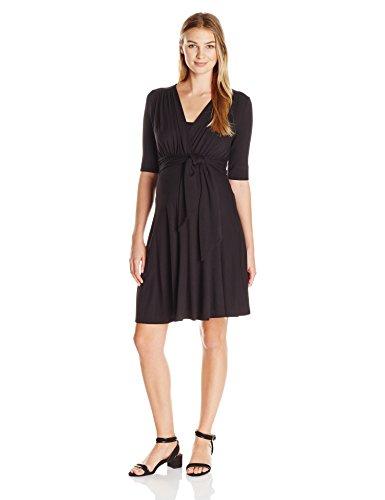 - Maternal America Women's Mini Front Tie Nursing Maternity Dress, Black, L