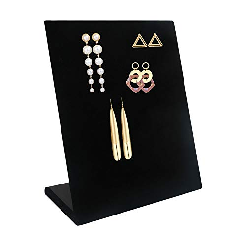 CINEEN 60 Holes Earring Holder Ear Stud Holders Earring Displays Organizer, Velvet Jewelry Earring Holder Stand, Black,1 Piece. (Post Earring Holder)