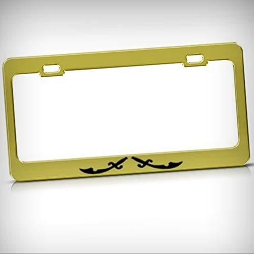 Pirates of Caribbean Swords Metal Tag Holder License Plate Frame Decorative Border - Novelty Plate \ Sign for Home Garage Office Decor