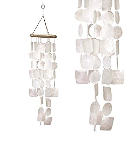 Bellaa 22913 Amazing Grace Capiz Wind Chime White Sea Shell 26 inch (Capiz Hanging)
