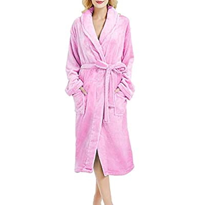 Womens Soft Plush Bathrobe Fleece Robe Long Thicken Warm Kimono Shawl Collar One Piece Homewear