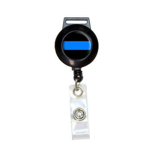 Thin Blue Line Lanyard Retractable Reel Badge ID Card Holder
