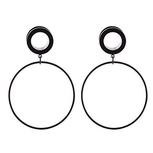 WBRWP 2pcs Screw Stainless Steel Hoop Dangle Ear Plugs Tunnels - Ear Expander - Ear Gauges Stretcher Body Piercing 2g-5/8
