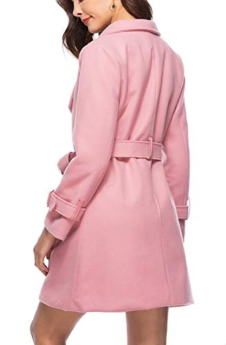 Revers Avec Style Blansdi Costume Lâche Ceinture Manteau De Simple Rose Confortable vent Section Cardigan Mode Hiver Épaissir Femme Coupe Long Nouveau Loisirs 2018 Et Automne Col Veste wS1Aw