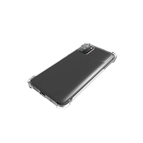 جراب EasyLifeGo لهاتف Xiaomi Poco M3 مع زجاج مقسى (2 قطعة) ممتص للصدمات رفيع من مادة TPU بحافة ناعمة مع زوايا معززة غطاء واقي شفاف