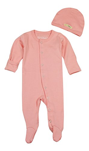 L'ovedbaby Organic Cotton Footie Overall with Hat, Coral