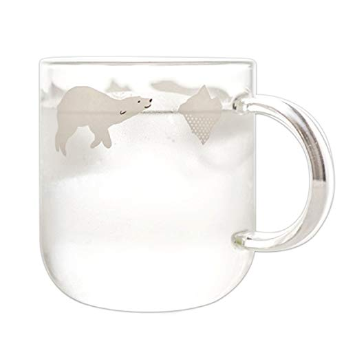 Fecihor Glass Mug Milk Cup with Handle Cute Cup with Polar Bear Print - Perfect Cup for Tea & Coffee - 350ml/12.3oz - Set of 1