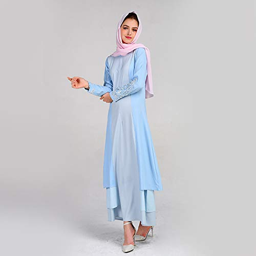 KIKOY Women's Muslim Summer Print Trumpet Sleeve Embroidery Elegant Swing Dress Blue by Kikoy muslim womens dress (Image #2)