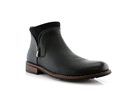 New Men's Classic Designer Zip Casual Chukka Ankle Boots, Black, 13 by Ferro Aldo