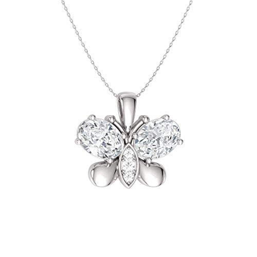 - Diamondere Natural and Certified Oval Cut White Topaz and Diamond Butterfly Necklace in 14k White Gold | 0.60 Carat Pendant with Chain