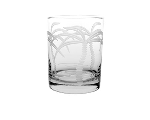 Palm Glasses - Rolf Glass Palm Tree Double Old Fashioned Glass (Set of 4), Clear