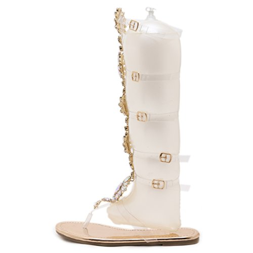 Transparent Ankle Sandals Gladiator Time Strip Strap Women Beach Flats Rhinestone Champagne Shoes High Dear Knee 4WUwYn8qAq