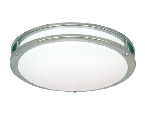 White Satin Nickel Compact - Sunpark DC014PG-218 2-Light 36W Fluorescent Flush Mount Ceiling Light with White Acrylic Shade, Satin Nickel