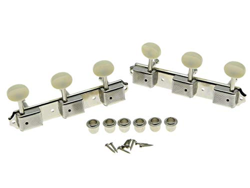 KAISH Nickel w/Aged White 3 per side 3x3 on a Plate Vintage Guitar Tuning Keys Tuners Korea Made