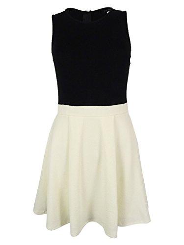 Bee Darlin B Darlin Juniors' Sleeveless Pleated Dress (9/10, Ivory/Black)
