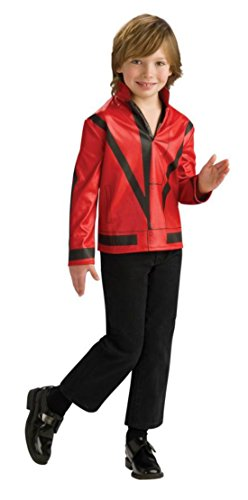 [Boys Mj Red Thriller Jckt Kids Child Fancy Dress Party Halloween Costume, L (12-14)] (Mj Thriller Halloween Costume)