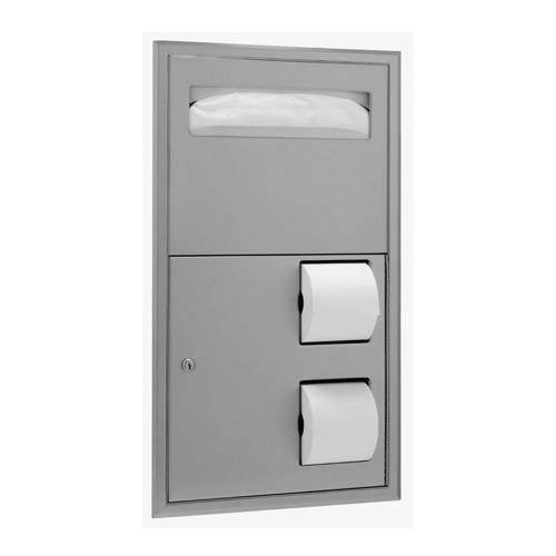 Bobrick B-3474 Recessed Seat-Cover Dispenser and Toilet Tiss