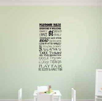 N.SunForest Vanessa Playroom Rules Vinyl Wall Decal Home Decor
