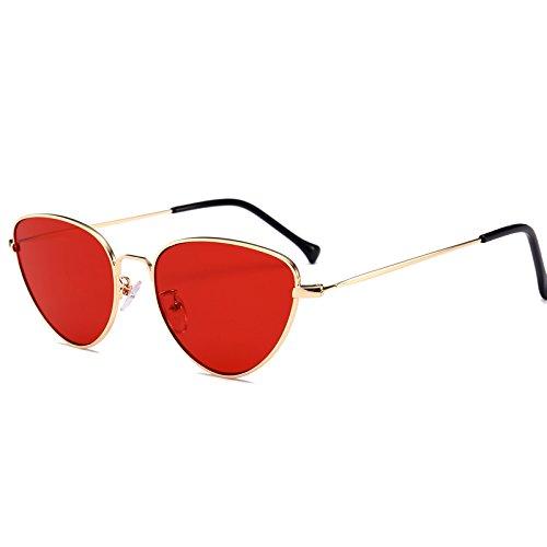 Las de Sol Peque del Las de la Tri¨¢ngulo Mayor vidrios de de Gafas de Metal de Ojo Vendimia los Tinte del Mujeres Gota Mujer Rojo del Negro Gris para la Accesorios Gato Pynxn la de os Nave Gafas WYzZBdqHzw