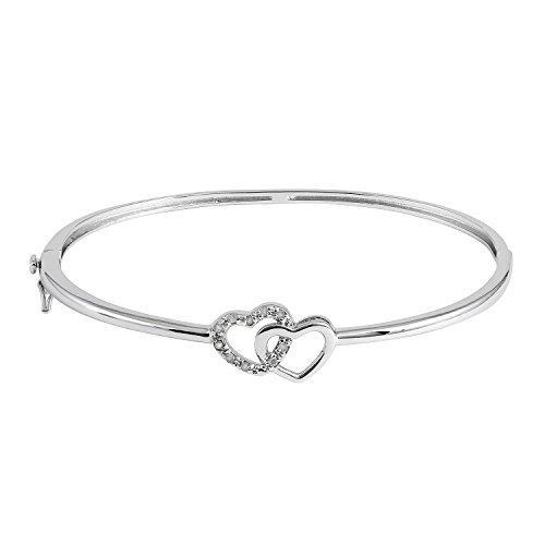 - JewelExclusive Sterling Silver 1/10cttw Natural Round-Cut Diamond (J-K Color, I2-I3 Clarity) Double Heart Bangle Bracelet