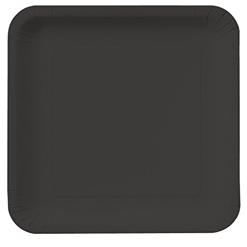 Creative Converting Touch of Color 18 Count Square Paper Dinner Plates, Black (Creative Halloween Dinners)