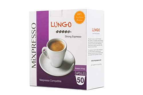 - Mixpresso Coffee Nespresso Compatible Capsules Coffee from Italy Lungo: Strong, 50 Count