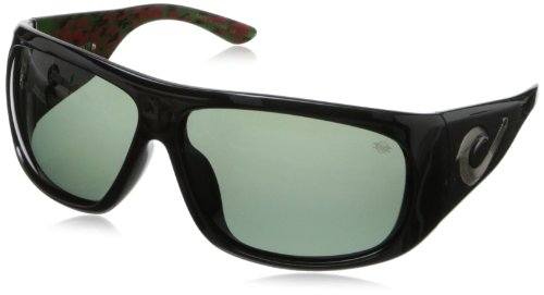 Black Flys Tahitian Wrap Sunglasses,Shiny Black & Inside Green Camo,68 - Black Fly Sunglass