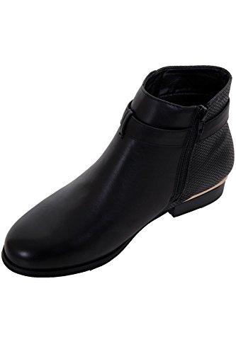 ® Contrast BOUTIQUE Zip Ankle Faux FANTASIA Shoes Low Black Buckle Leather Skin Ladies Boots Heel Snake 05nx4d