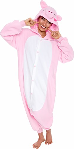 Silver Lilly Unisex Adult Pajamas - Plush One Piece Cosplay Pig Animal Costume (Pink, Large) ()