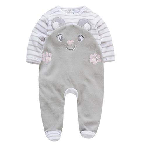 Kehen Baby Sleeper Pajamas Button Footed Boy and Girl Cotton Gray 12-18 Months