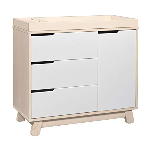 Babyletto Hudson 3-Drawer Changer Dresser with Removable Changing Tray, Washed Natural / White (Davinci Kalani 3 Drawer Changer Dresser White)