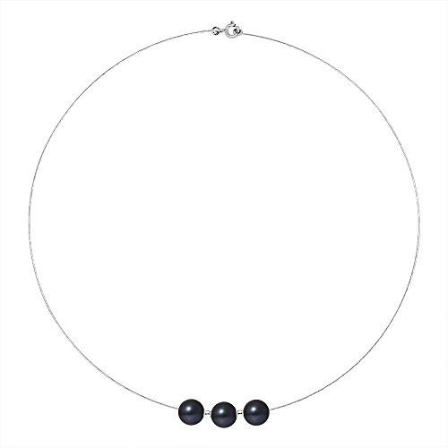 Pearls & Colors - Collier avec pendentif - Or blanc 9 cts - Perle d'eau douce - 42 cm - AM-9CC 107 3R9B-BL