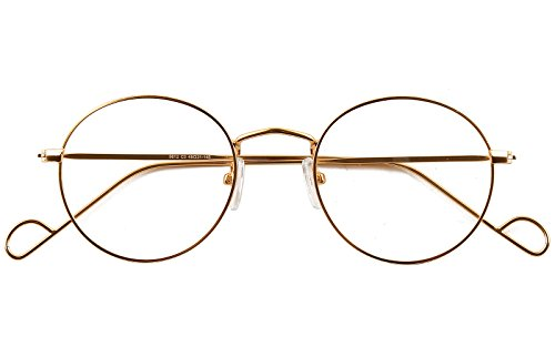Beison Retro Round Metal Glasses Frame Clear Lens 47mm (Gold, 47) (Geek Costume Accessories)