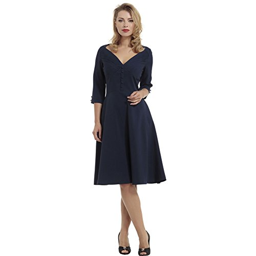 Voodoo-Vixen-Laura-Pleated-Bust-Flare-Solid-Dress-Blue