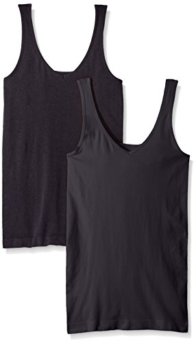 ELLEN TRACY Women's Seamless Reversible 2 Pack Camisole, Black, - George Underwear Women For