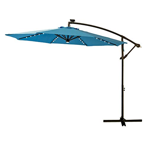 (FLAME&SHADE 10' LED Outdoor Cantilever Hanging Offset Umbrella with Solar Lights for Large Patio Table Outside Balcony or Pool, Aqua Blue )