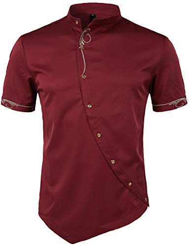 ZEROYAA Mens Hipster Irregular Hem Slim Fit Short Sleeve Mandarin Collar Shirts with Embroidery ZHCL23 Burgundy Small