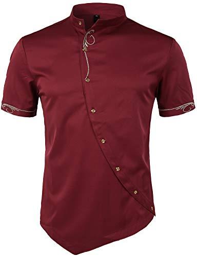 - ZEROYAA Mens Hipster Irregular Hem Slim Fit Short Sleeve Mandarin Collar Shirts with Embroidery ZHCL23 Burgundy Small