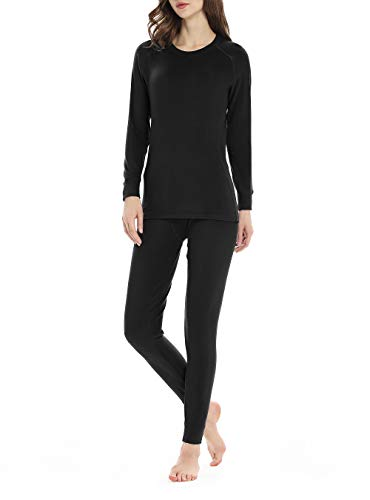 Genuwin Women's Thermal Underwear Set Midweight Fleece Lined Long Johns Set Base Layer Set S~XL Black, Medium