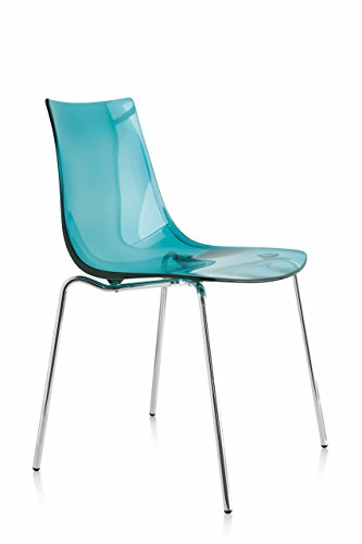 Connubia LED Chair - Steel Stained Chromed Frame - Styren Acrylonitrile Transparent Aquamarine Seat Calligaris Dining Chairs