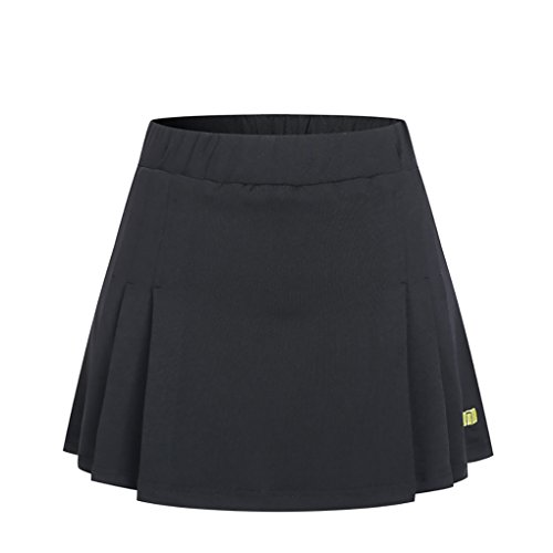 (Miqieer Women's Basic Stretchy Pleated Athletic Skirt Tennis Quick Dry Active Skorts with Shorts Inner Black)
