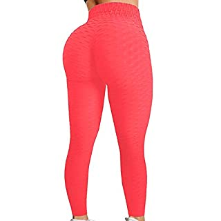 HURMES Women's High Waist Textured Yoga Pants Ruched Butt Lifting Stretchy Tummy Control Workout Leggings (#1-Neon Orange, X-Large)