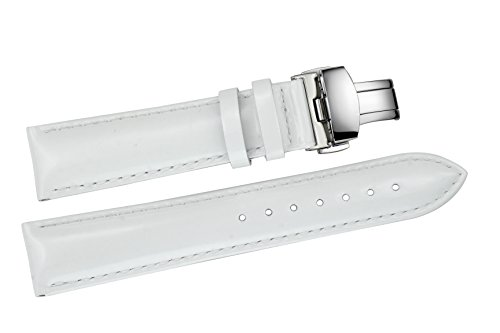 Shiny Calf Watch Strap - 14mm Women's Narrow Small White Enamel Leather Watch Straps for Luxury Wristwatches Glossy Shiny Calf Skin Silver Deployant Buckle