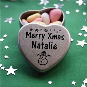 Merry Xmas Natalie Heart Shaped Mini Tin Gift filled with mini coloured chocolates perfect card alternative for Natalie Fun Festive Snowman Design