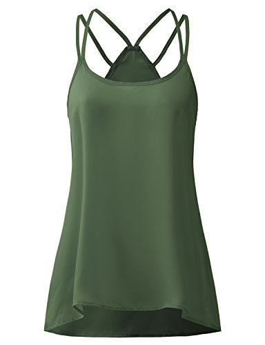 Regna X Boho For Womens Spaghetti Strap Zip Closure Cover UPS Olive Medium Chiffon Blouse Sleeveless Camisole (Green Tank Cover)