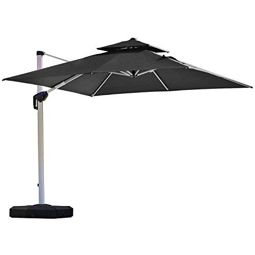 Cantilever Patio Umbrella - PURPLE LEAF 10 Feet Double Top Deluxe Square Patio Umbrella Offset Hanging Umbrella Outdoor Market Umbrella Garden Umbrella, Black