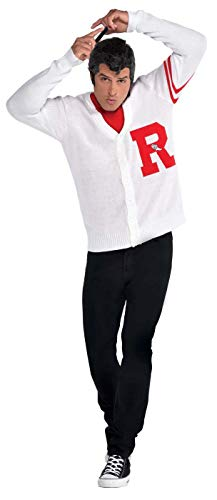 SUIT YOURSELF Mens Grease Rydell Letterman Sweater Costume, Standard White (Letterman Sweater Men)