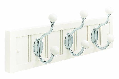 Amerock H55640WW26 Beadboard Hook and Rack, White/Chrome, 18-Inch