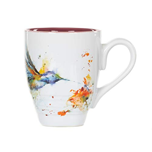 DEMDACO Hummingbird Watercolor Red On White 16 Ounce Glossy Stoneware Mug With Handle