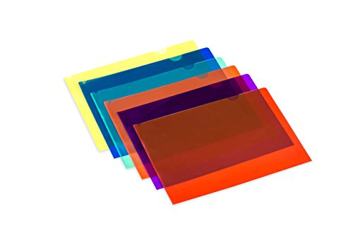 Lightahead LA-7555 Clear Document Folder, A4 Size, Set of 12 in 6 Assorted Colors, Blue, Green, Orange, Yellow, Purple, Maroon